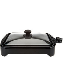 Cook's Essentials Reversible Grill/Griddle w/ Glass Lid - K44623