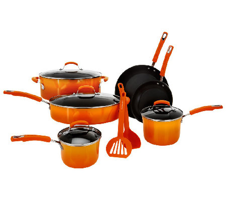 """As Is"" Rachel Ray 12-Piece Gradient Porcelain Cookware Set"