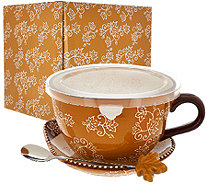 Temp-tations 24 oz. Floral Lace Soup Mug w/Lid-it and Gift Box - K42324
