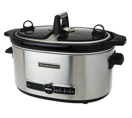 kitchenaid 6 qt oval stainless steel slowcooker with hingedsplit