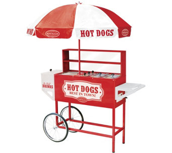 Nostalgia Electrics Carnival Hot Dog Cart w/Umbrella - K123926
