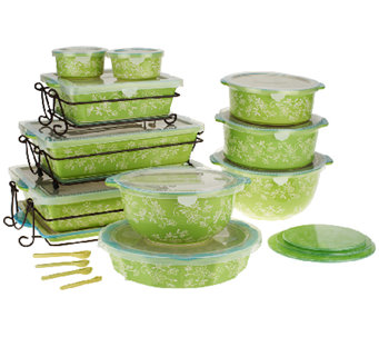 """As Is"" Temp-tations Floral Lace 24-pc Oven-to- Table Set - K292126"