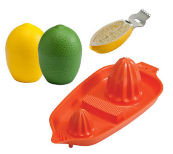 Gourmac Lemon/Lime Saver, Citrus Zester and Twin Juicer - K120327