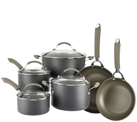 CooksEssentials Hard Anodized Dishwasher Safe 10-Piece Cookware Set