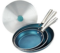 CooksEssentials 4-Piece Aluminum Skillets & Universal Lid - K44827