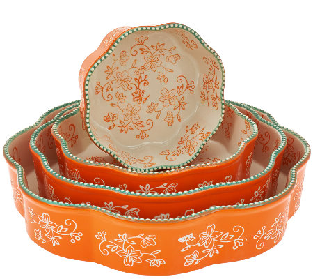 """As Is"" Temp-tations Floral Lace Set of 4 Nested Cake Pans"