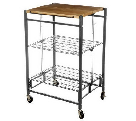 Folding Island EZ Fold Kitchen Cart W/ Metal Frame U0026 Wood Top