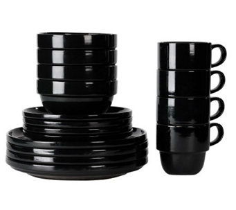 Tabletops Gallery Black Stax 16-Piece Dinnerware Set - K299829