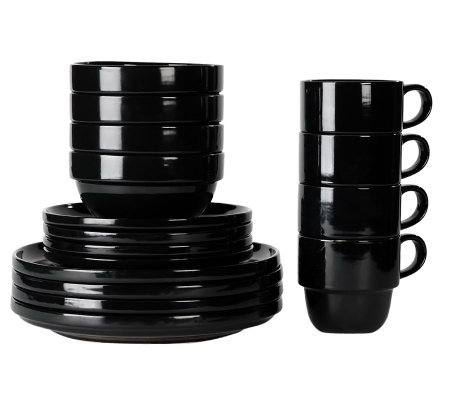 Tabletops Gallery Black Stax 16-Piece Dinnerware Set