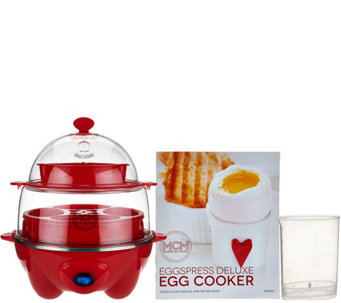 Eggspress Deluxe Egg Cooker w/ Recipe Book - K43929