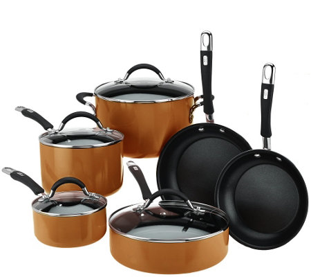"""As Is"" Cook's Essentials Porcelain Enamel 10 piece Cookware Set"
