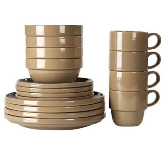 Tabletops Gallery Taupe Stax Living 16-Piece Dinnerware Set - K299831