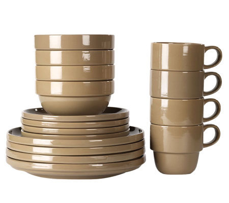 Tabletops Gallery Taupe Stax Living 16-Piece Dinnerware Set