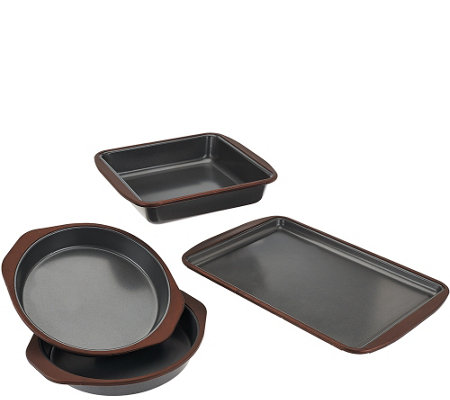 """As Is"" Cooks Essentials 4 pc Nonstick Trivetless Bakeware Set"