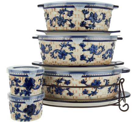 """As Is"" Temp-tations Floral Lace Basketweave 9pc Oval Bake Set"