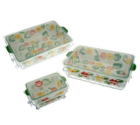 Temp-tations Floral Embroidery 9-pc Oven-to-Table Set
