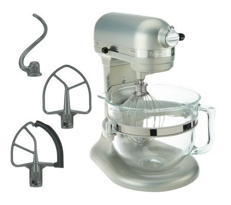 KitchenAid 6 qt 575 Watt Glass Bowl Lift Stand Mixer w/ Flex Edge & 3 Acces.