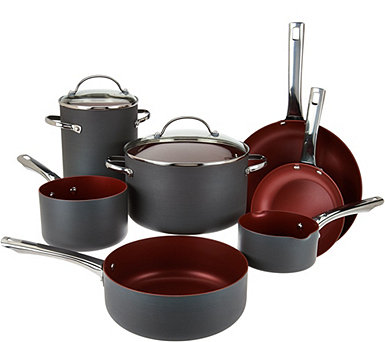 Cook's Essentials 10pc Non-Stick Hard Anodized Cookware Set - K45131