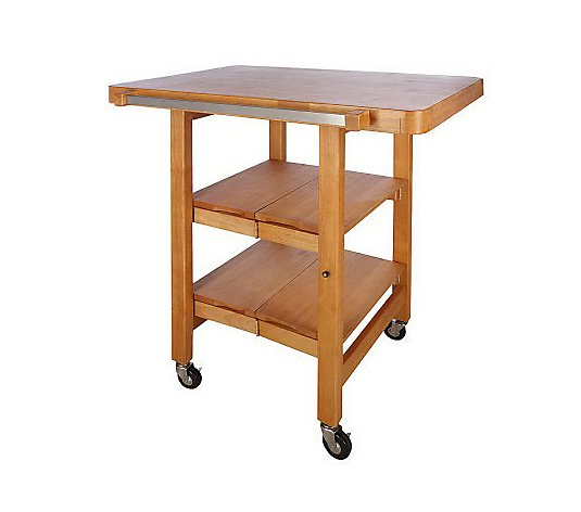 Folding Island Rectangular Kitchen Cart W Butcher Block Style Top Qvc Com