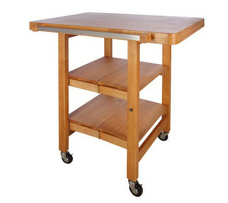 Folding Island Rectangular Kitchen Cart W/Butcher Block Style Top