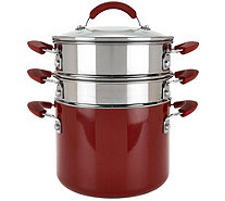 CooksEssentials 5qt Aluminum Covered Pot with Steamer & Pasta Insert - K44832