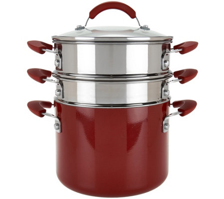 CooksEssentials 5qt Aluminum Covered Pot with Steamer & Pasta Insert