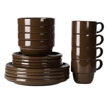 Tabletops Gallery Brown Stax Living 16-Piece Dinnerware Set