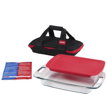 Pyrex Portable 4-Piece Bake & Carry Set w/ TempPack & Carrier - K305733