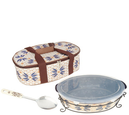 """As Is"" Temp-tations Old World 3qt Oval Pack n' Go Baker"