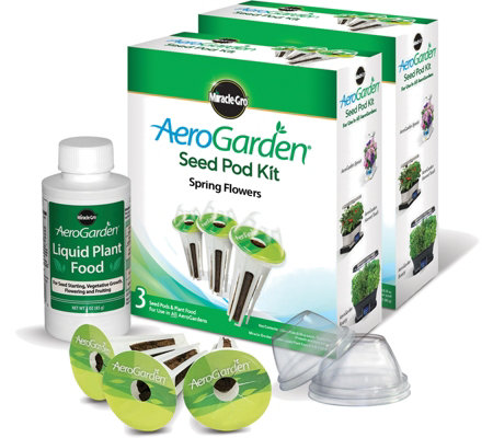 Miracle-Gro AeroGarden Set of 2 3-Pod Spring Flowers Seed Kits