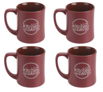 "Set of 4 ""In the Kitchen with David"" Ceramic Mugs - K38333"