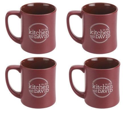 "Set of 4 ""In the Kitchen with David"" Ceramic Mugs"