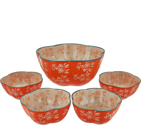 Temp-tations Floral Lace 5-piece Pasta Bowl Set