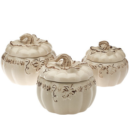 Temp-tations Set of 3 Verona Pumpkin Baking Dishes