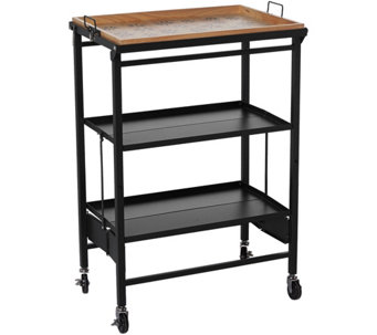 Temp-tations Old World Folding Kitchen Cart w/ Removable Tray - K43534