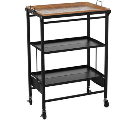 Temp-tations Old World Folding Kitchen Cart w/ Removable Tray
