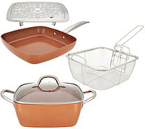 "Copper Chef 9.5"" Square Casserole Pan, 9.5"" Skillet & Accessories - K46134"