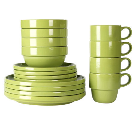 Tabletops Gallery Moss Stax Living 16-Piece Dinnerware Set