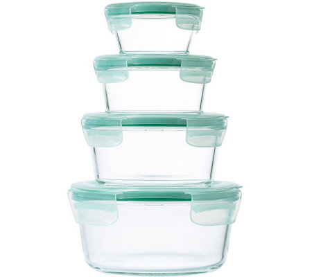 OXO Good Grips 8-Piece SNAP Glass Round Container Set