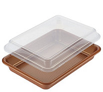 "Ayesha Curry Bakeware 9"" x 13"" Covered Cake Pan - Copper - K376535"