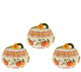 """As Is"" Temp-tations Set of 3 Bakers Choice of Pumpkin/Harvest - K307636"