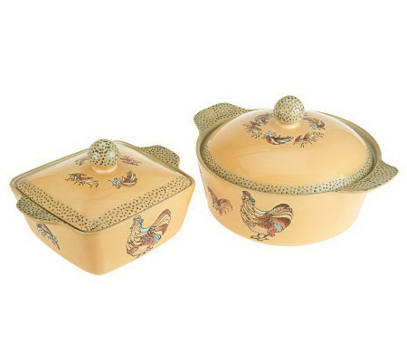 Blue Jean Chef 4-Piece Chicken & Rooster Casserole Set