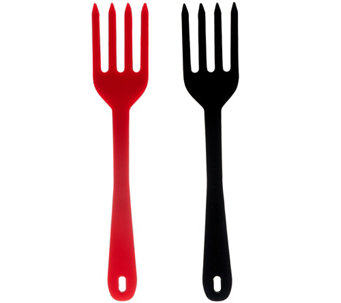 Elizabeth Karmel Set of 2 Super Silicone Kitchen Forks - K42836
