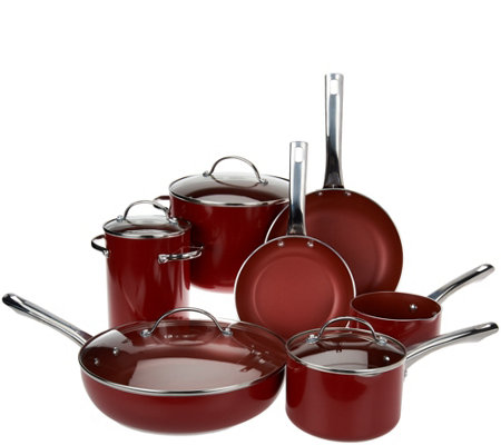 Cook's Essentials 12pc Porcelain Enamel Cookware Set