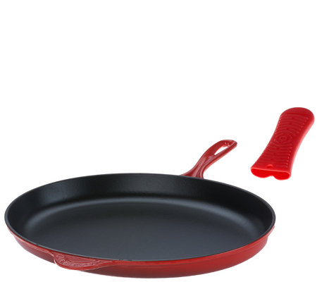 "Le Creuset 15.75"" Cast Iron Oval Skillet & Silicone Sleeve"