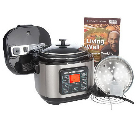 Montel Williams Living Well 5StainlessSteel Pressure Cooker w/ Cookbook