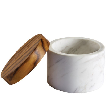 Anolon White Marble 5.25-oz Salt Cellar with Teak Wood Lid