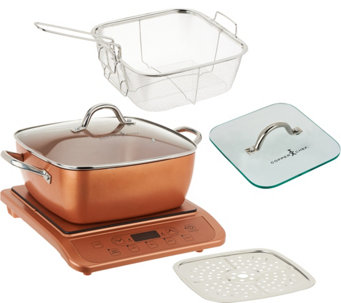"Copper Chef Induction Cooktop w/ 11"" Casserole Pan & Glass Press - K45837"