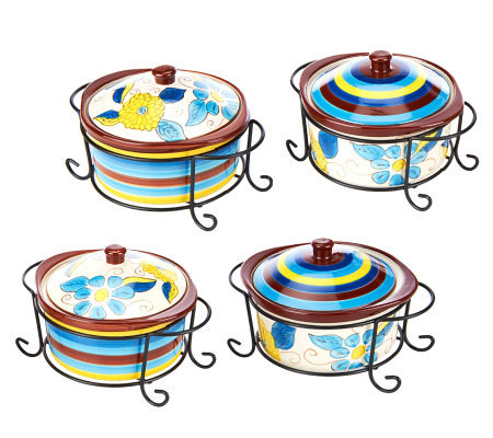 Temp-tations Compliments Set of 4 Mini Round Bakers w/Racks