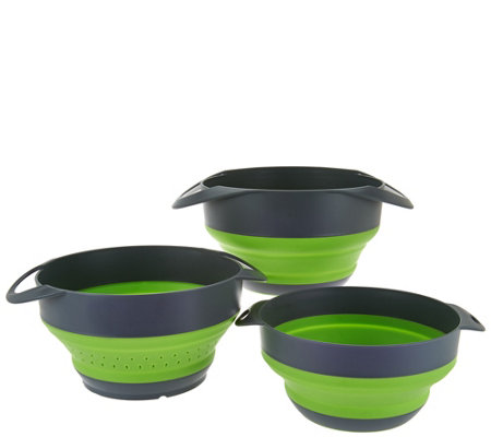 Cook's Essentials S/3 Collapsible Nesting Bowls & Strainer Set